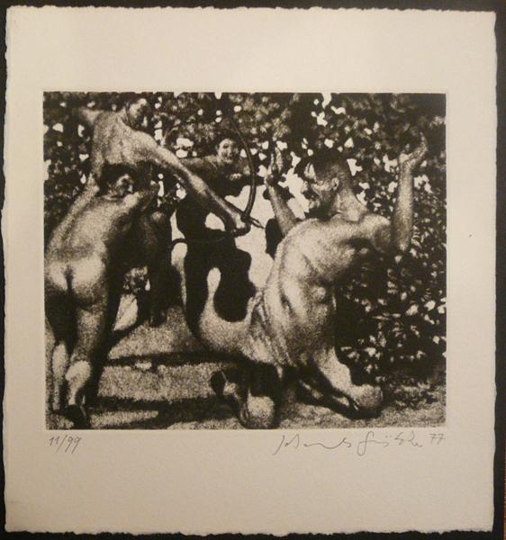 Centaurenspiele Kathedrale des Künstlers Lithografie Johannes Grützke Holzschnitt Radierung Schabradierung Offsetdruckt Druckgrafik Kaltnadelradierung