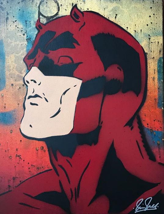 Daredevil Chris Cleveland   Spray-Gemälde auf Leinwand - signed spray paint
