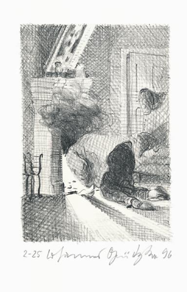 Der Frauentunnel 13 Lithografie Johannes Grützke Holzschnitt Radierung Schabradierung Offsetdruckt Druckgrafik Kaltnadelradierung
