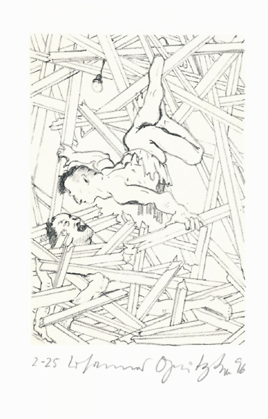 Der Frauentunnel 14 Lithografie Johannes Grützke Holzschnitt Radierung Schabradierung Offsetdruckt Druckgrafik Kaltnadelradierung