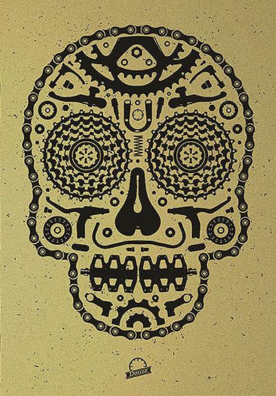 Douze Bike scull gold urban art gallery buy street art screenprint poster art of rock