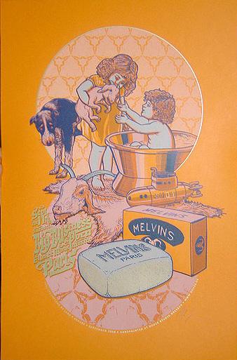 Douze MELVINS orange art gallery buy street art screenprint poster art of rock
