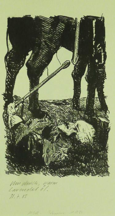 Ein treuer Grenadier Lithografie Johannes Grützke Holzschnitt Radierung Schabradierung Offsetdruck  Andruck Neue Prächtigkeit Druckgrafik Kaltnadelradierung