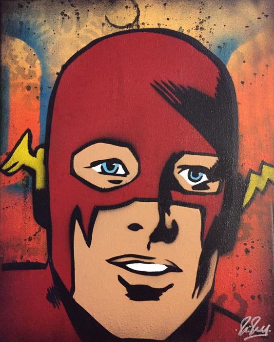 Flash Chris Cleveland   Spray-Gemälde auf Leinwand - signed spray paint
