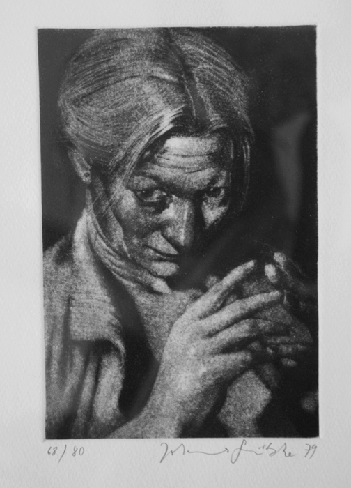 Hedwig Lithografie Johannes Grützke Holzschnitt Radierung Schabradierung Offsetdruck Druckgrafik Kaltnadelradierung