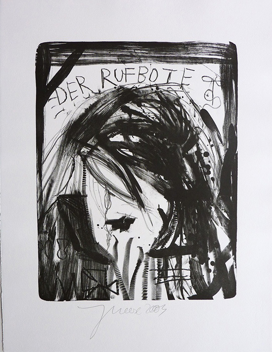 Jonathan Meese contemporary art buy art print Griffelkund Radierung Der Rufbote