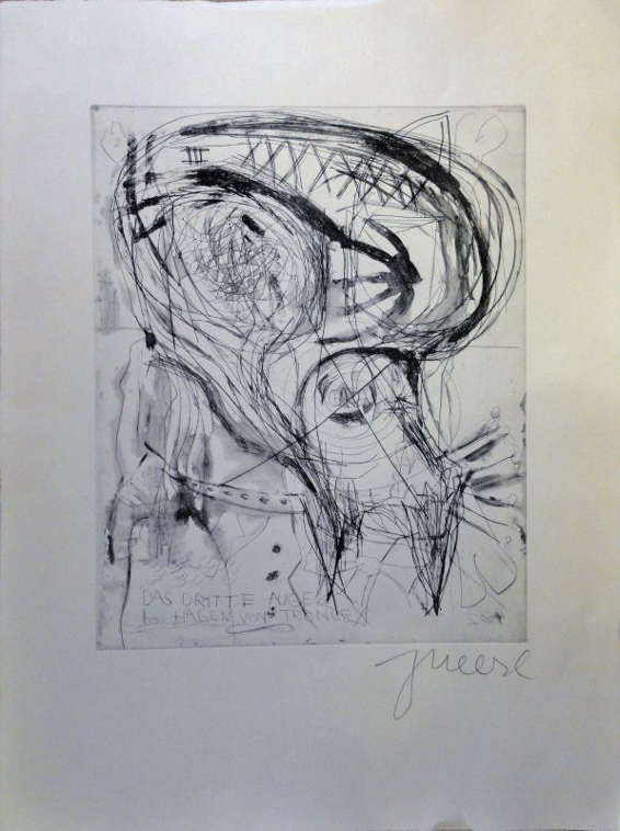 Jonathan Meese Das dritte Auge Griffelkunst Radierung