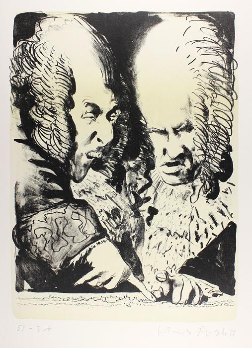 Kaiser Leopold und Prinz Eugen Lithografie Johannes Grützke Holzschnitt Radierung Schabradierung Offsetdruck Druckgrafik