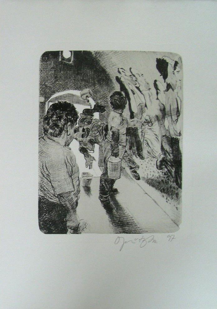 Kathedrale des Künstlers 2 Lithografie Johannes Grützke Holzschnitt Radierung Schabradierung Offsetdruckt Druckgrafik Kaltnadelradierung