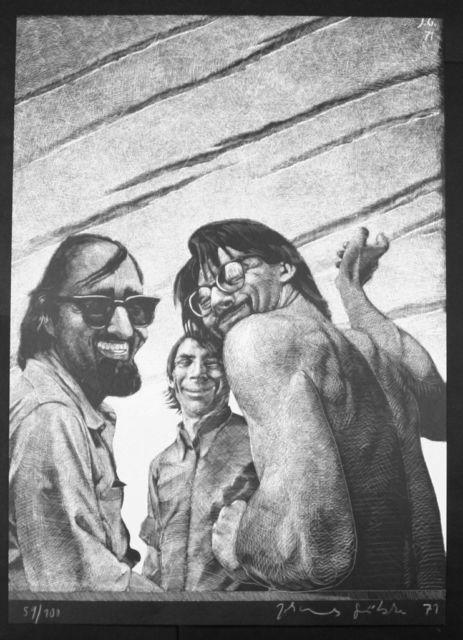 M.C. Kathedrale des Künstlers Lithografie Johannes Grützke Holzschnitt Radierung Schabradierung Offsetdruckt Druckgrafik Kaltnadelradierung