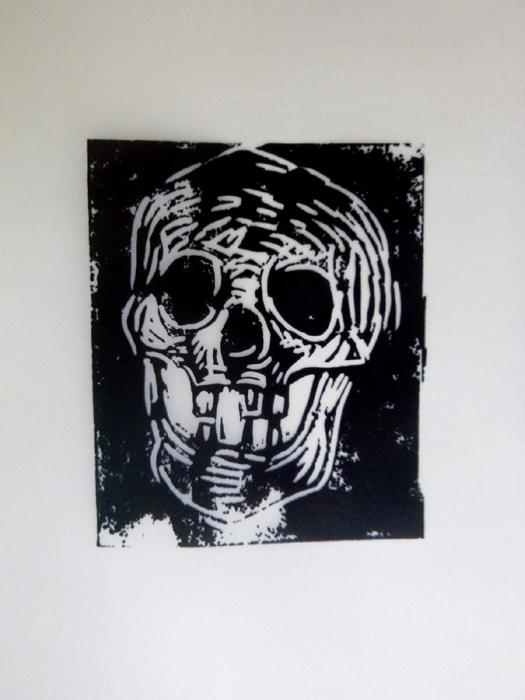 Markus lüperts Linolschnitt Skull