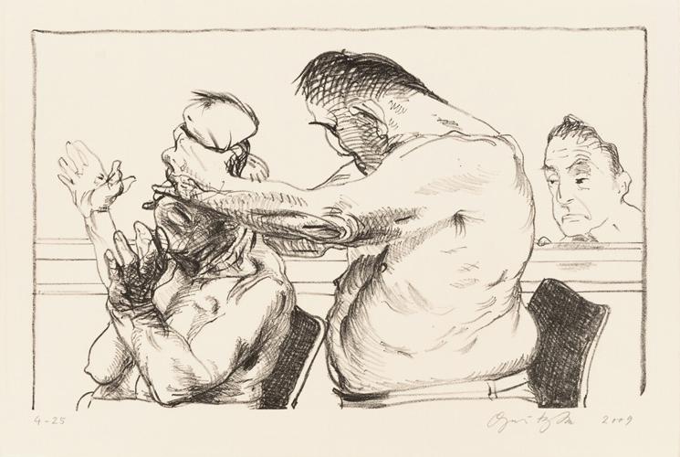 Prometheus 2 Lithografie Johannes Grützke Holzschnitt Radierung Schabradierung Offsetdruck  Andruck Neue Prächtigkeit Druckgrafik Kaltnadelradierung