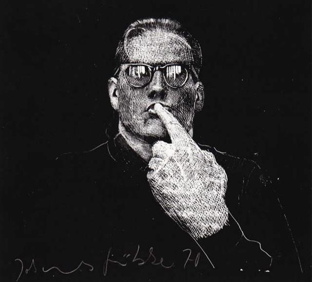 Pst! Lithografie Johannes Grützke Holzschnitt Radierung Schabradierung Offsetdruckt Druckgrafik Kaltnadelradierung