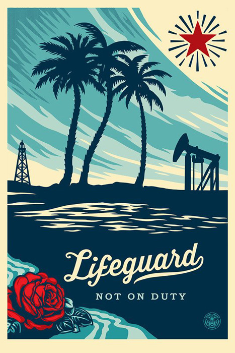 Shepard Fairey Obey offset print 2016 lifeguard not on duty