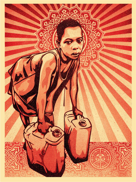 Shepard Fairey Obey silkscreen Siebdruck urban art yellow cans