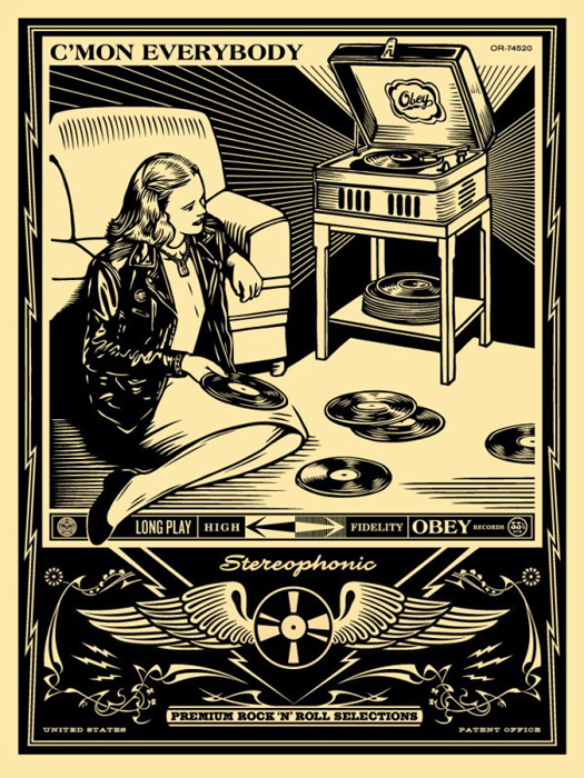 Shepard Fairey Obey silkscreen Siebdruck 2013 c´mom everybody poster