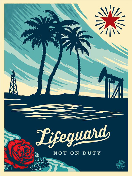 Shepard Fairey Obey silkscreen Siebdruck 2014 lifeguard not on duty
