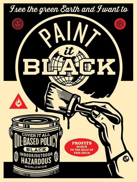 Shepard Fairey Obey silkscreen Siebdruck 2014 paint it black poster