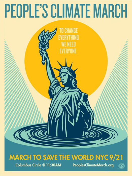 Shepard Fairey Obey silkscreen Siebdruck 2014 people´s climate march poster