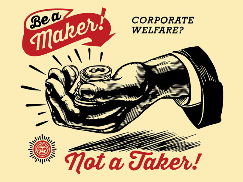 Shepard Fairey Obey silkscreen Siebdruck 2015 corporate welfare