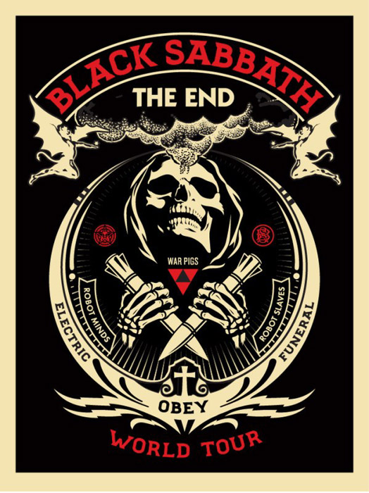 Shepard Fairey Obey silkscreen Siebdruck 2016 black sabbath red