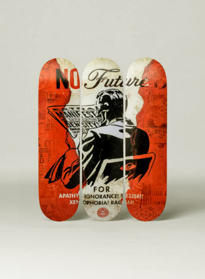 "Shepard Fairey Obey silkscreen Siebdruck 2017  ""NO FUTURE"" SKATEBOARD deck"