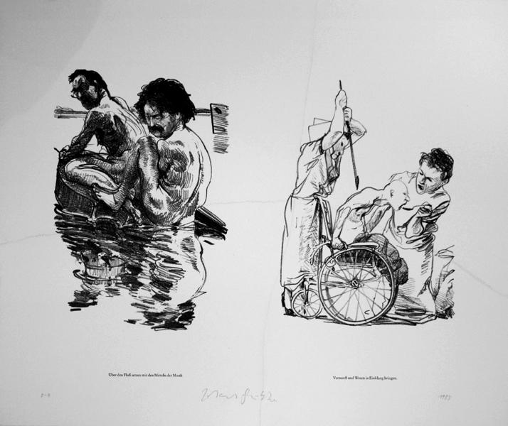 Steinzeichnungen Fluß Lithografie Johannes Grützke Holzschnitt Radierung Schabradierung Offsetdruckt Druckgrafik Kaltnadelradierung
