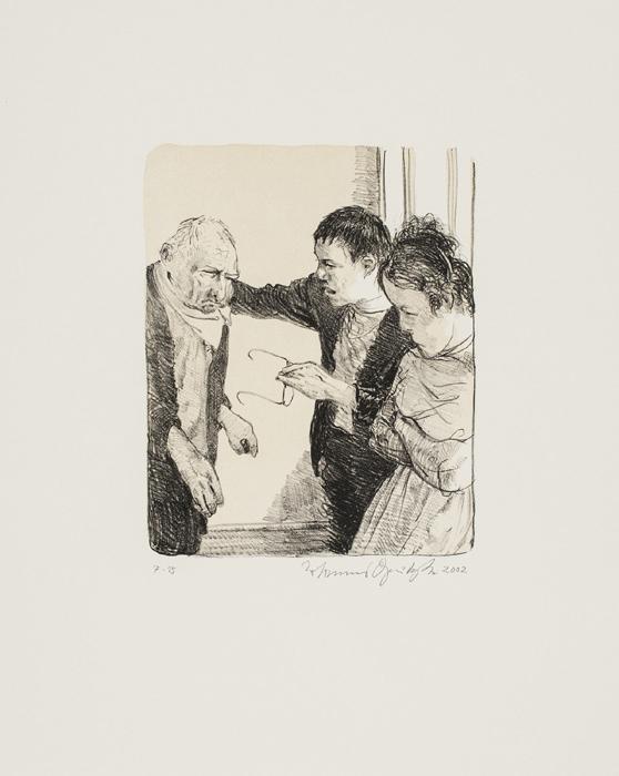 Tod am Wannsee 3 Kathedrale des Künstlers Lithografie Johannes Grützke Holzschnitt Radierung Schabradierung Offsetdruckt Druckgrafik Kaltnadelradierung