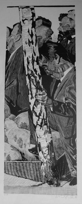 Volksvertreter an der Birke Lithografie Johannes Grützke Holzschnitt Radierung Schabradierung Offsetdruckt Druckgrafik Kaltnadelradierung