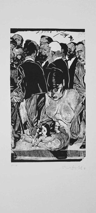 Volksvertreter an der Mauer Lithografie Johannes Grützke Holzschnitt Radierung Schabradierung Offsetdruck   Druckgrafik Kaltnadelradierung