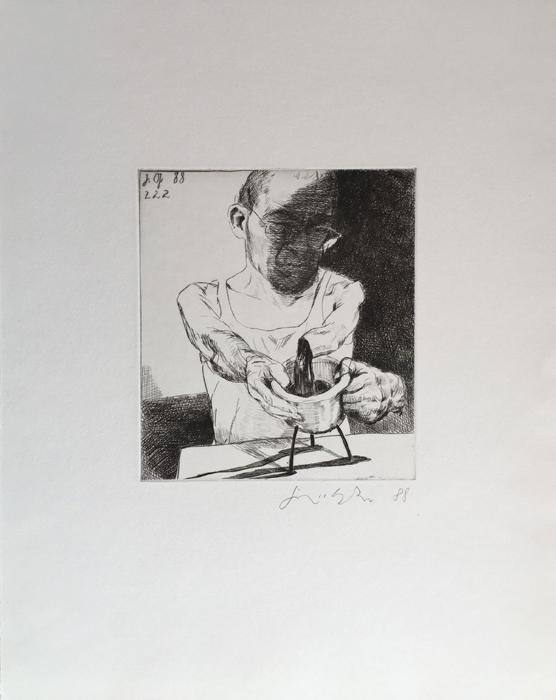 der Gefäßchirurg Lithografie Johannes Grützke Holzschnitt Radierung Schabradierung Offsetdruck Druckgrafik