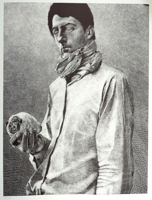 der Mann mit dem Rettich Lithografie Johannes Grützke Holzschnitt Radierung Schabradierung Offsetdruck  Druckgrafik