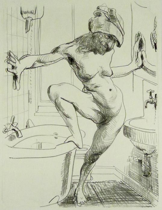im bad Kathedrale des Künstlers Lithografie Johannes Grützke Holzschnitt Radierung Schabradierung Offsetdruckt Druckgrafik Kaltnadelradierung