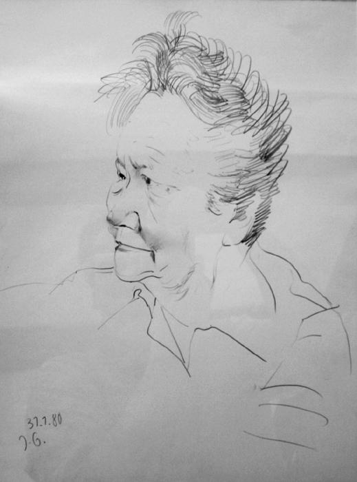 original Bleistiftzeichnung Johannes Grützke Unikat Portrait