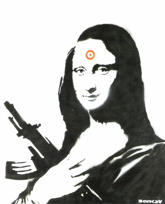 Mona Lisa with Ak 47 Banksy after Nachdruck Reproduktion Serigrafie Giclee