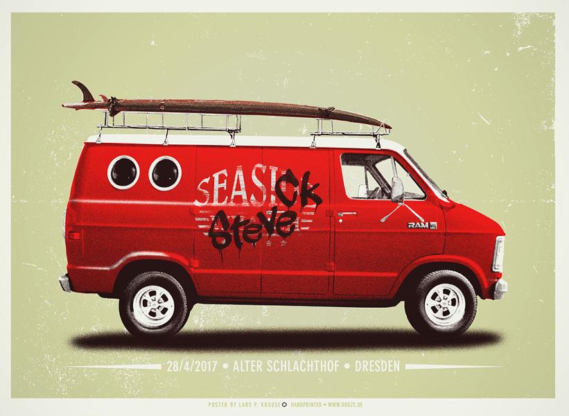 Douze SEASICK art gallery buy street art screenprint poster art of rock