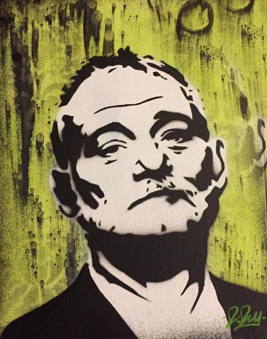 Bill Murray Chris Cleveland   Spray-Gemälde auf Leinwand - signed spray paint