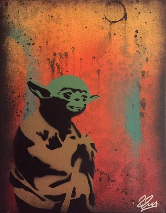 Star Wars Yoda Chris Cleveland   Spray-Gemälde auf Leinwand - signed spray paint