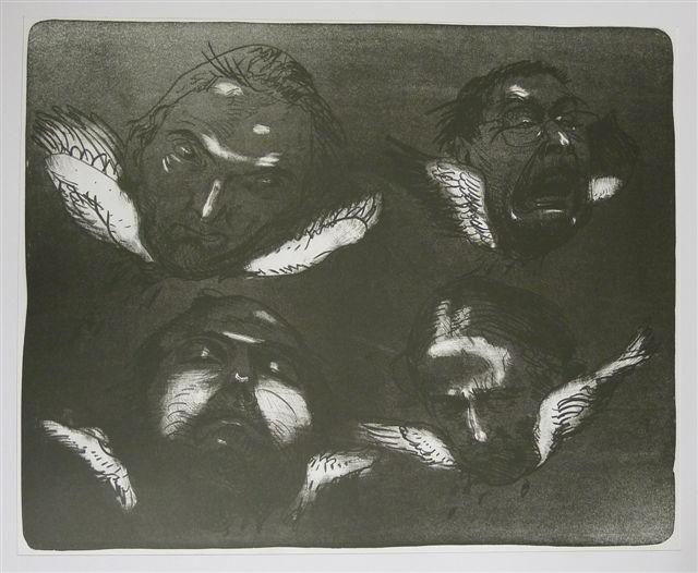 vier gesichter Kathedrale des Künstlers Lithografie Johannes Grützke Holzschnitt Radierung Schabradierung Offsetdruckt Druckgrafik Kaltnadelradierung