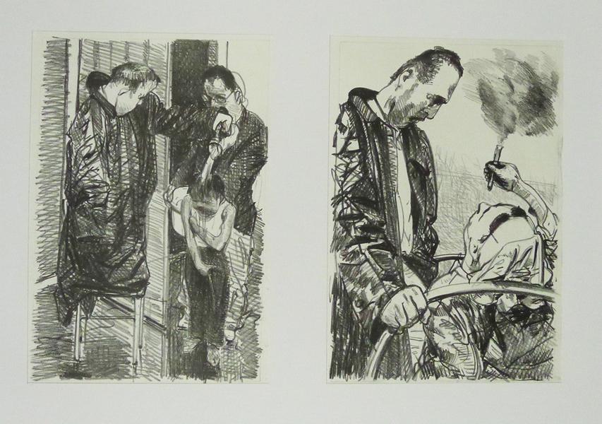 vierzig Steinzeichnungen Nottaufe Lithografie Johannes Grützke Holzschnitt Radierung Schabradierung Offsetdruck Druckgrafik
